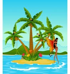 girl on tropical island vector image vector image