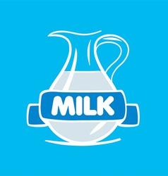 logo milk in a glass jar vector image vector image