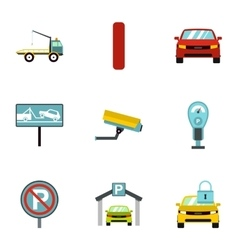 Parking transport icons set flat style vector