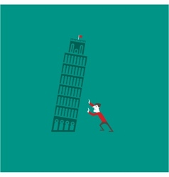 Pisa tower with a tourist vector image