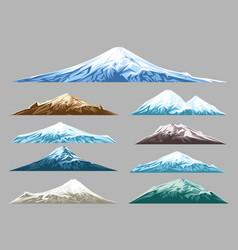 snow mountains set for logo vector image