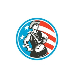 American Patriot Drummer USA Flag Circle Retro vector image vector image