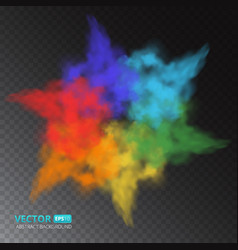 colorful fog or smoke isolated on transparent vector image