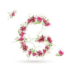 Floral letter G for your design vector image