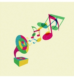 gramophone with music vector image