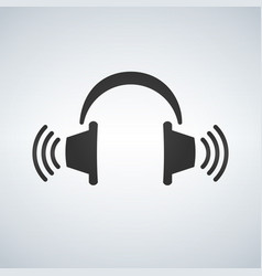 headphones icon with waves black symbol vector image