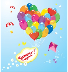 Image with colorful balloons in heart shape vector image vector image