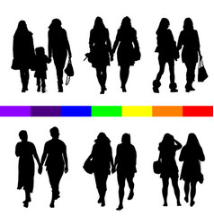 lesbian couple silhouette set in black vector image