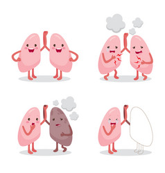 lungs healthy and sickness set cartoon character vector image