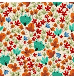 Retro field flowers seamless pattern vector image