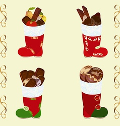 Santas boots set with sweets vector image vector image
