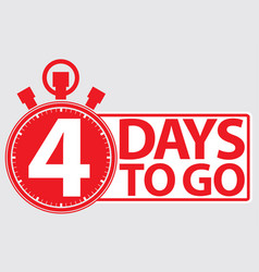 4 days to go red label vector