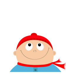 Baby boy wearing red hat and scarf kid face vector