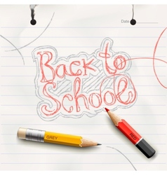 Back to school handwritten with red pencil vector