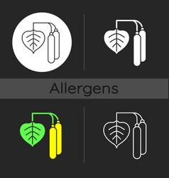 Birch pollen dark theme icon vector