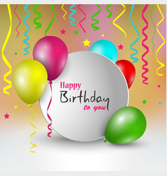 birthday card with round pointer and balloons vector image