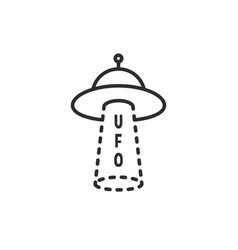 black thin line simple ufo logo vector image