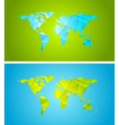 Bright abstract tech polygonal world map design vector image
