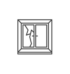 broken window linear icon - cracked window vector image