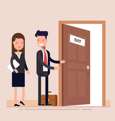 Businessman offers a woman to leave the office vector