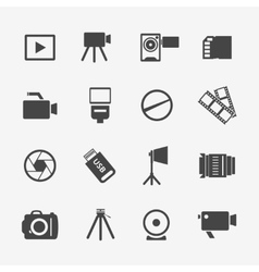 Camera and photo icons vector image vector image