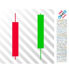 Candlesticks flat icon with bonus vector