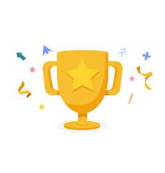 cartoon golden trophy with confetti award vector image