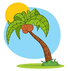 Cartoon Palm Tree With Background vector
