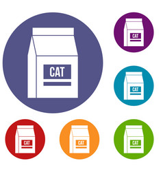 Cat food bag icons set vector