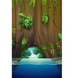 Cave over the water vector