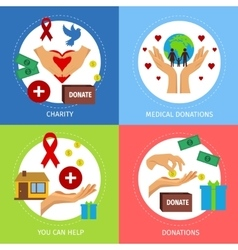 Charity Flat Poster Set vector image