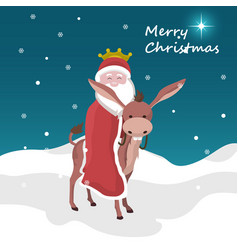 christmas card of santa claus of king magician mou vector image