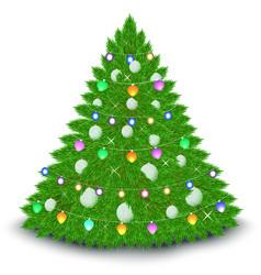 christmas tree garland balls stars vector image