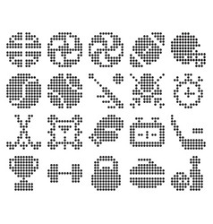 collection dotted icons sport vector image