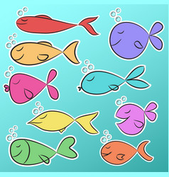 collection of nine ready to use bright stickers vector image
