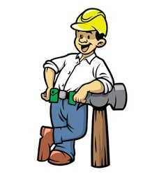 contruction worker lean on a big hammer vector image