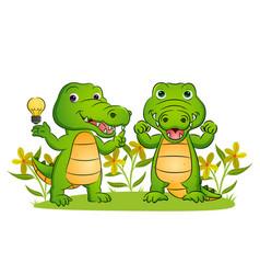 Couple crocodile is having a brilliant vector
