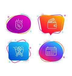 debit card loan percent and shopping cart icons vector image