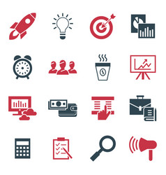 digital black red startup icons vector image