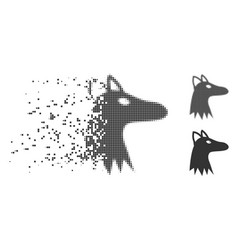 Dissolved pixel halftone fox head icon vector