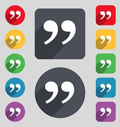 Double quotes at the end of words icon sign A set vector image