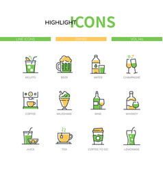 Drinks - modern line design style icons set vector