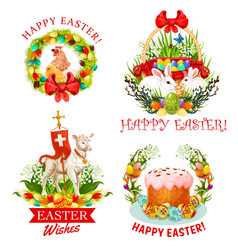 Easter holiday eggs bunnies flower and cake vector