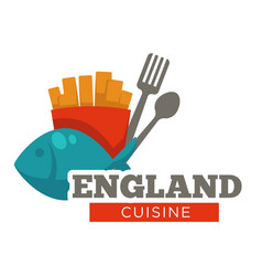 England cuisine meal traditional fish and chips vector