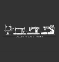 evolution sewing machines vector image