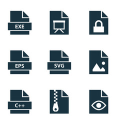 File icons set with archive programming language vector