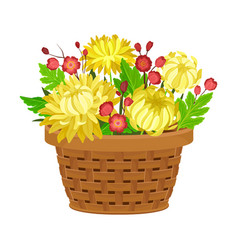 Floral arrangement with yellow peony in box vector