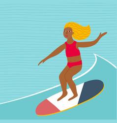 Girl woman swim wave sport character vector