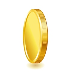 Golden shiny coin isolated on white background vector image