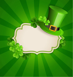 green hat and clover leaves vector image